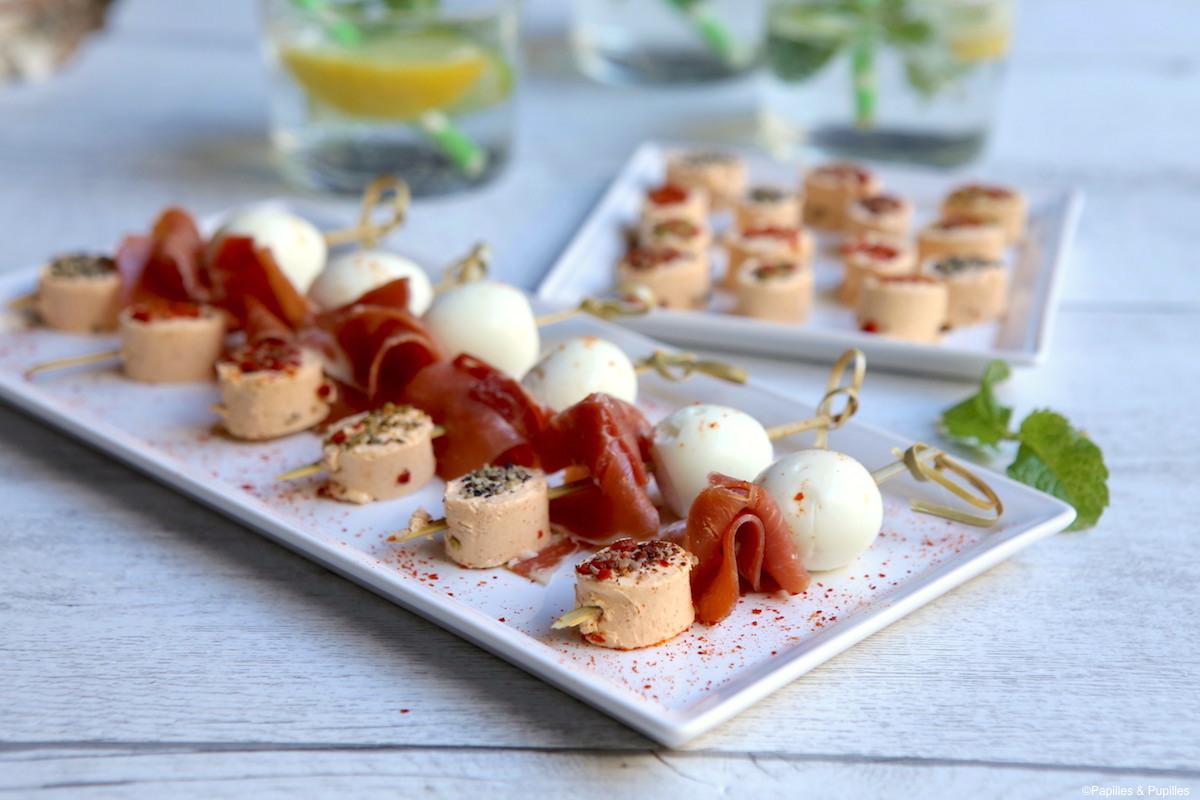 Brochettes Apérivrais oeufs de caille jambon
