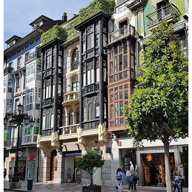 Les jolies façades en bois des maisons d'Oviedo