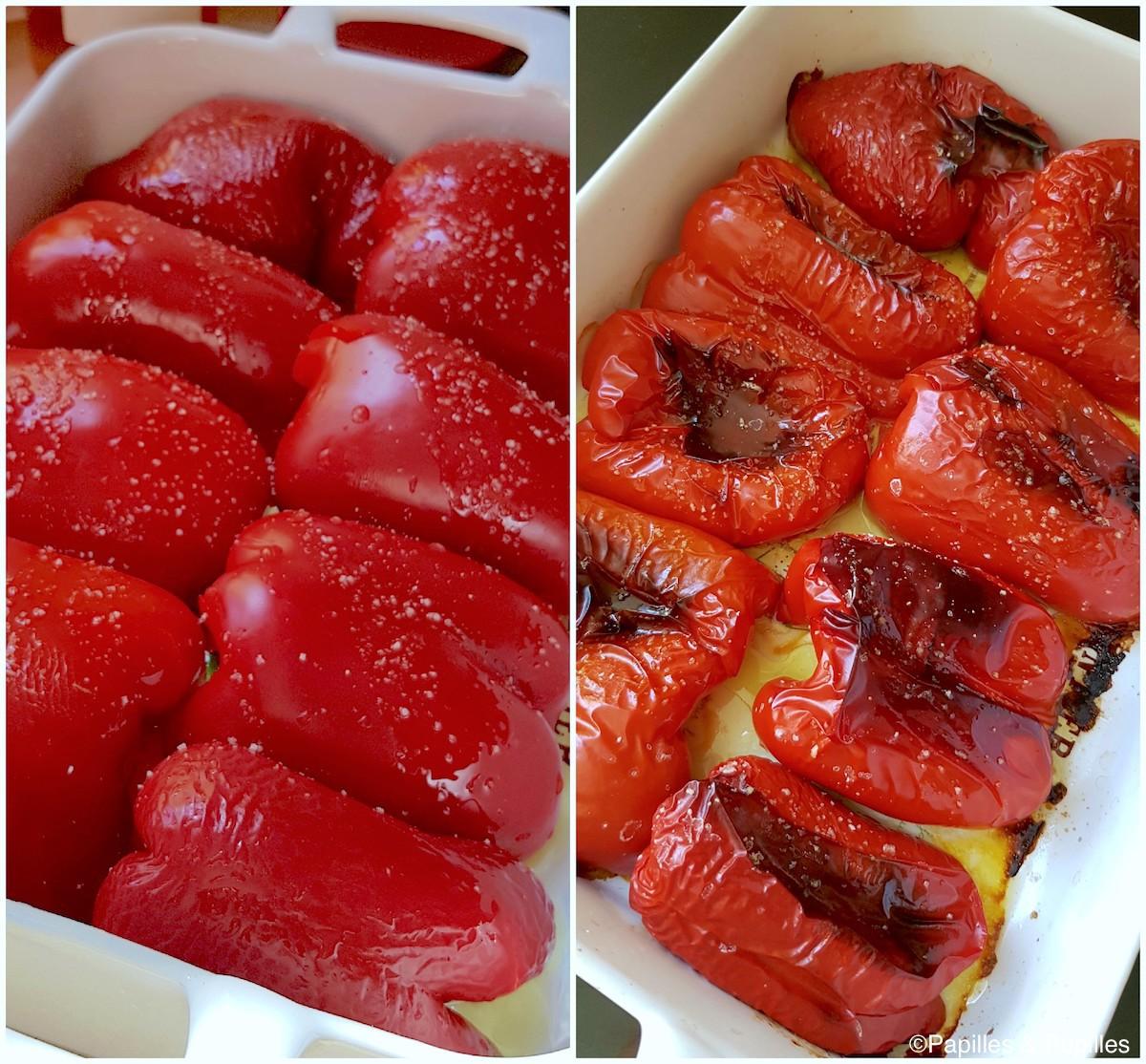 Poivrons avant et après cuisson