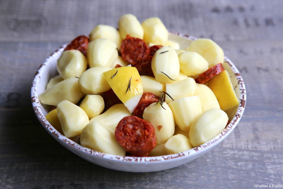 Pommes de terre, chorizo, ail et citron