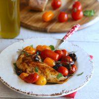 Poulet olives noires et tomates