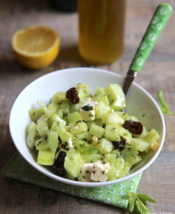 Salade de concombre Féta menthe olive noire citron confit