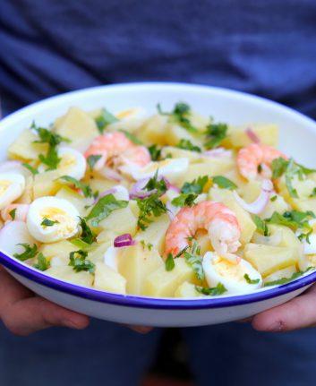 Salade de pommes de terre crevette oeufs de caille