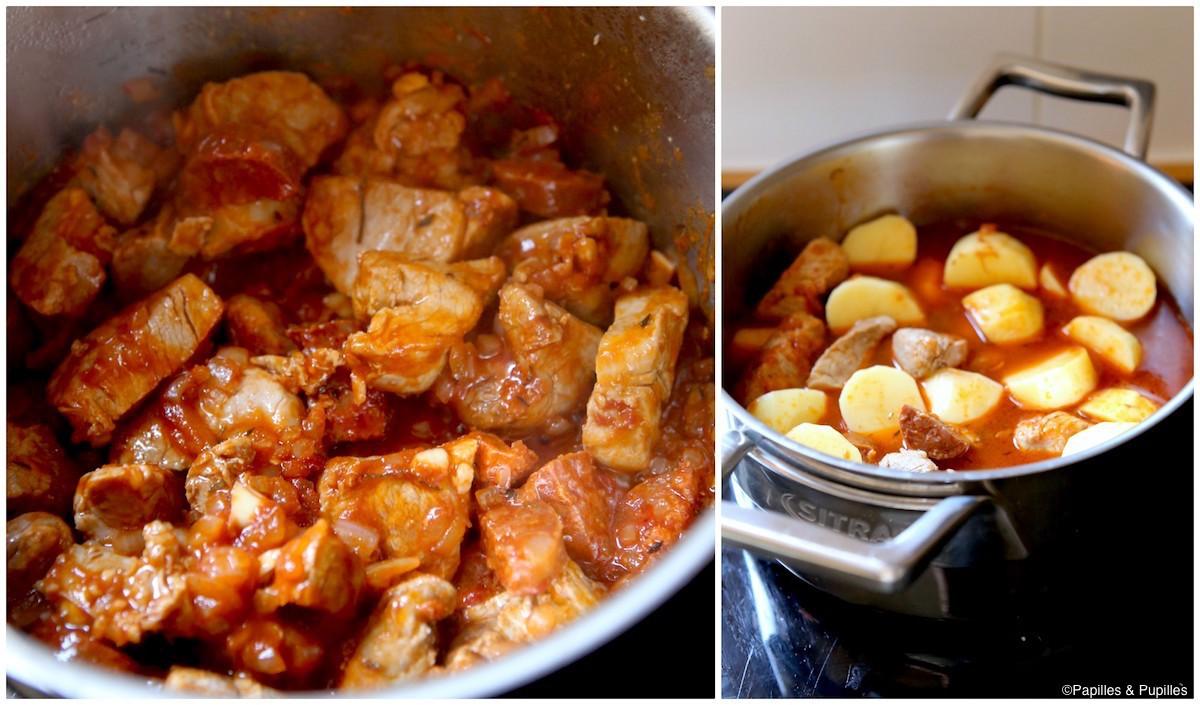 Ajoutez le concentré de tomates puis les pommes de terre