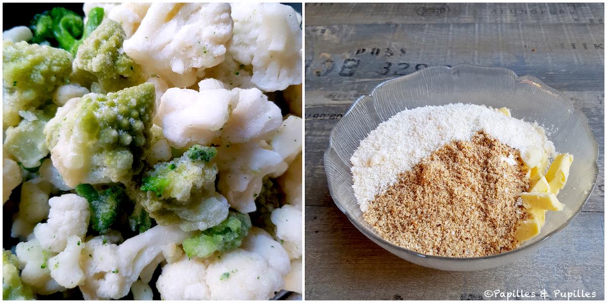Cuisson des choux et ingrédients de la pâte à crumble