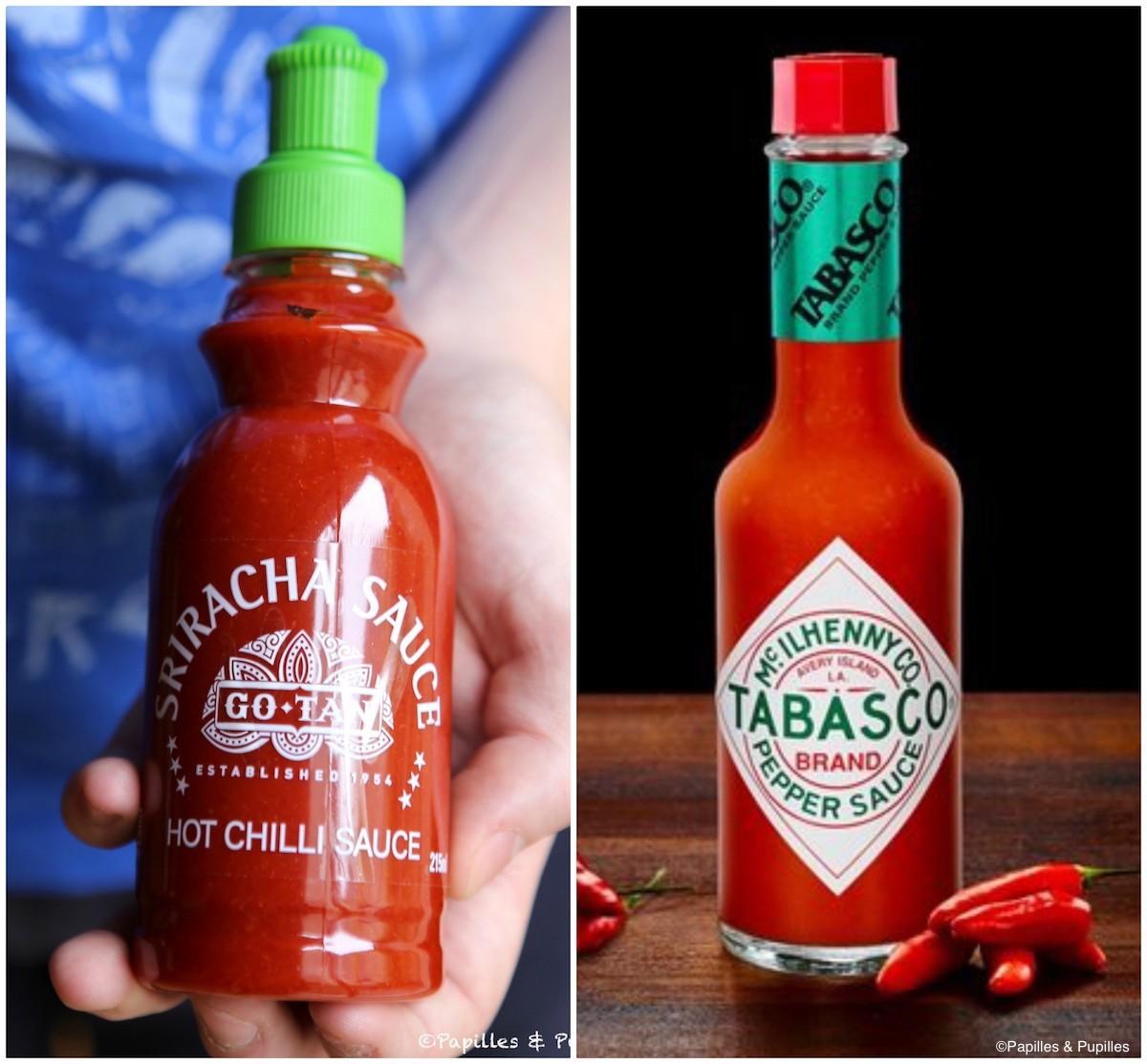 Sriracha et Tabasco