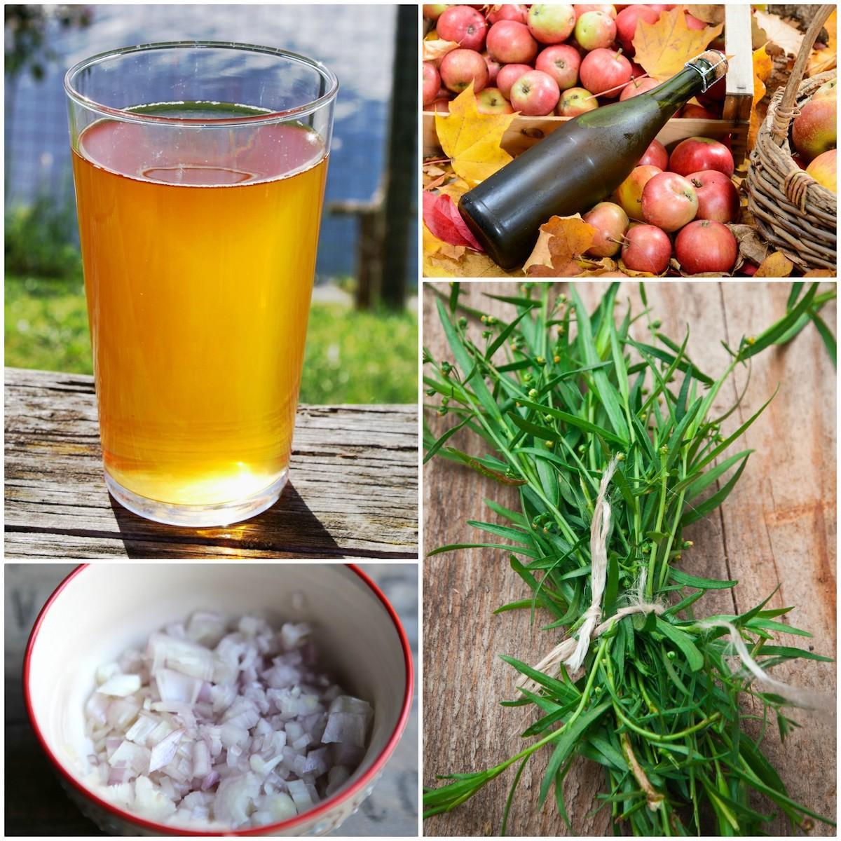Echalotes, cidre et estragon