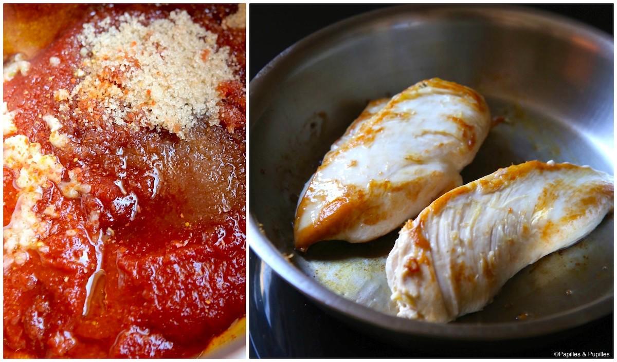 Préparation de la sauce et coloration du poulet