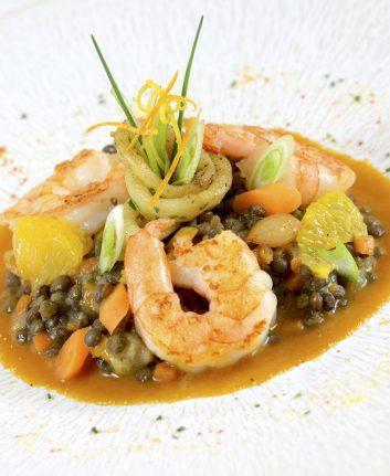 Ragoût de lentilles vertes du puy aux crevettes et encornets