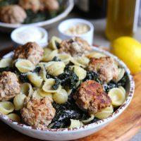 Orecchiette aux boulettes de veau et kale