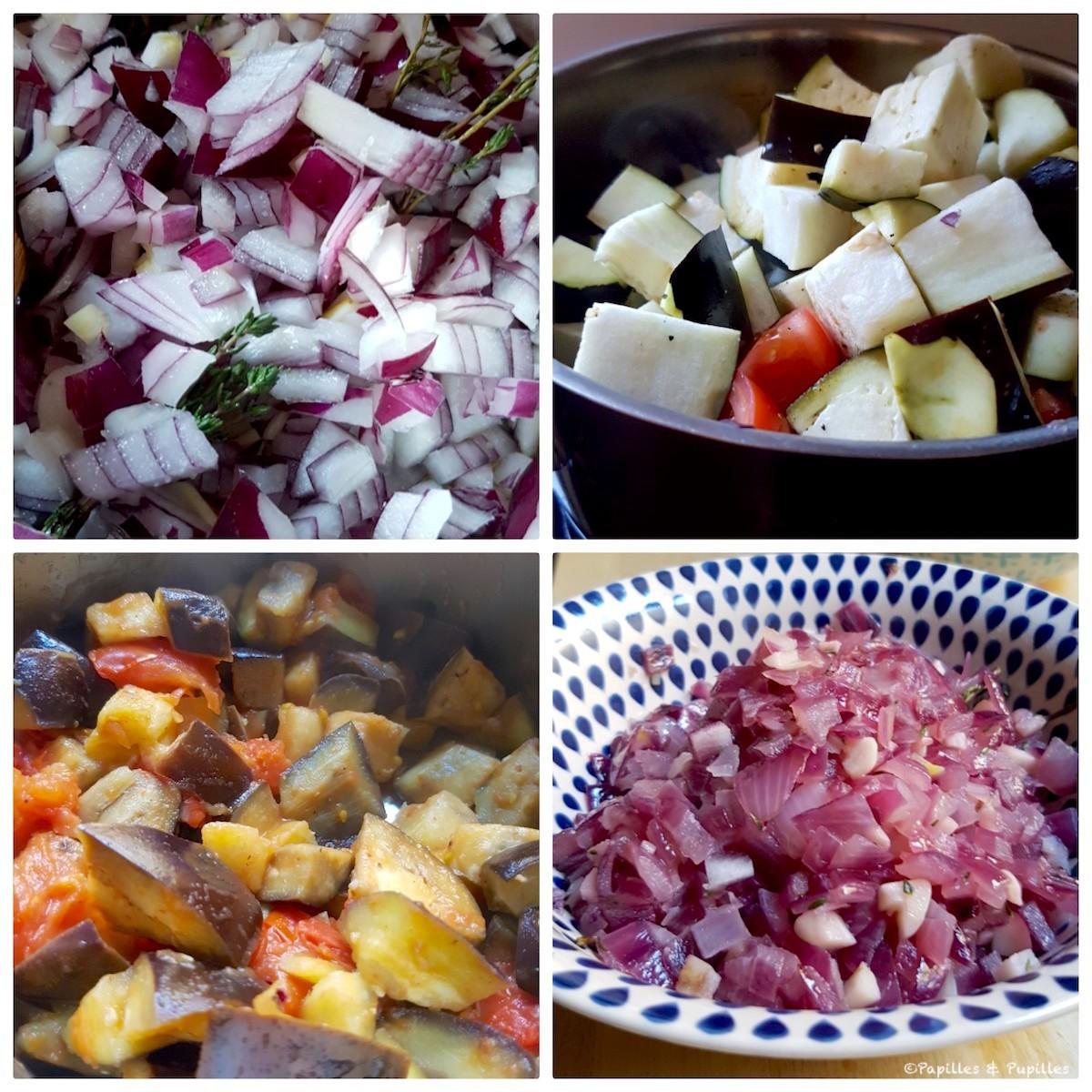On cuit les oignons puis ensuite les aubergines tomates