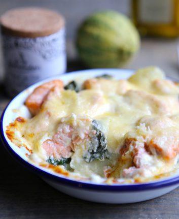 Gratin de saumon épinards et pommes de terre