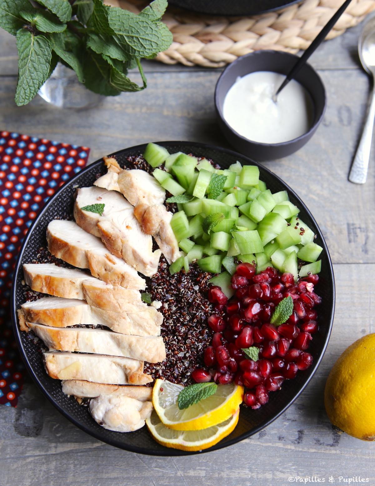 Bowl poulet quinoa grenade concombre