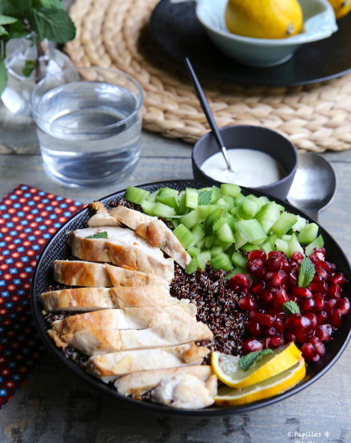 Bowl poulet quinoa grenade menthe