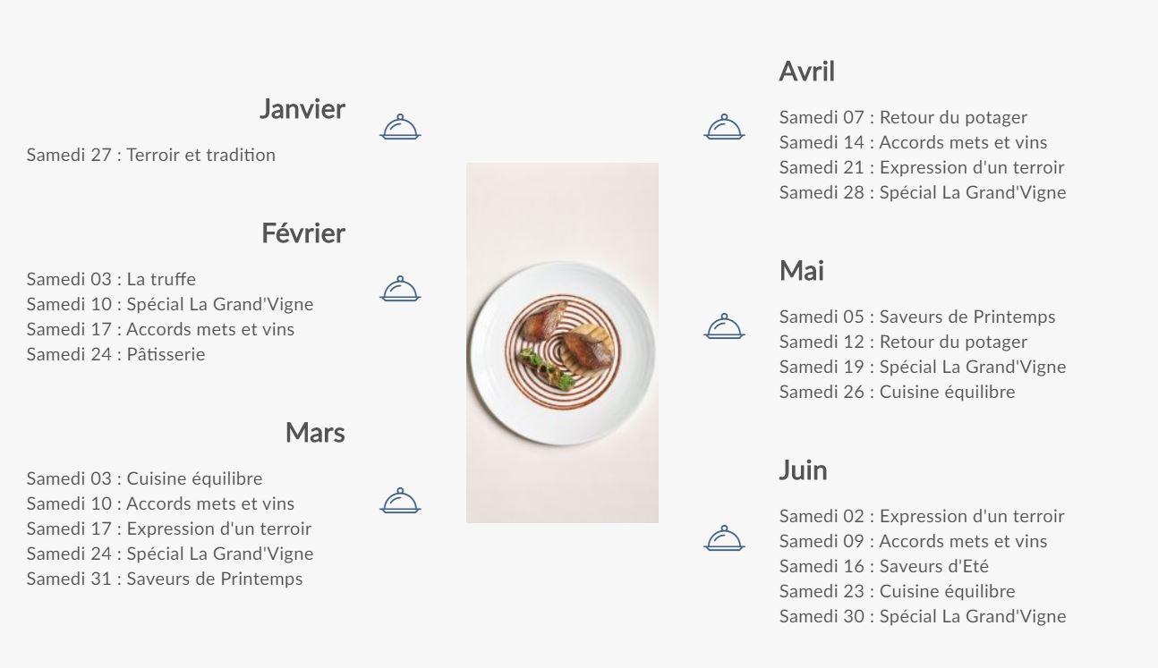 Planning - Ecole de cuisine -janvier à juin 2018 - Les Sources de Caudalie