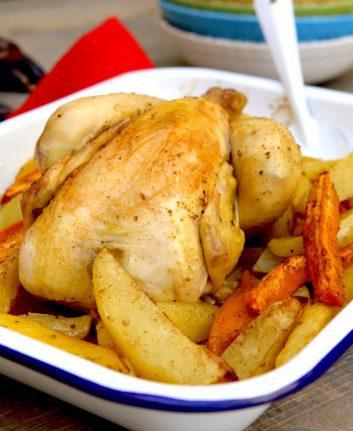 Poulet aux deux pommes de terre et épices douces