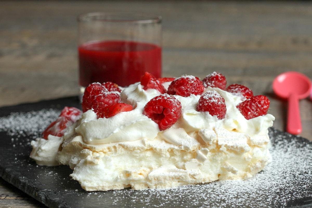 Pavlova fraises et framboises