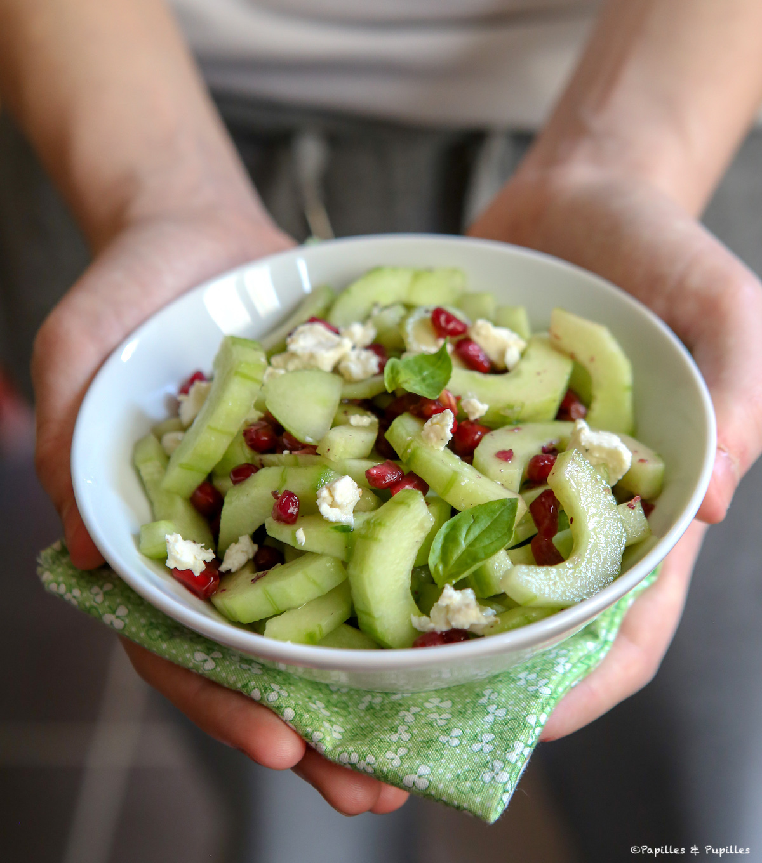 Salade de concombre, grenade, feta et basilic