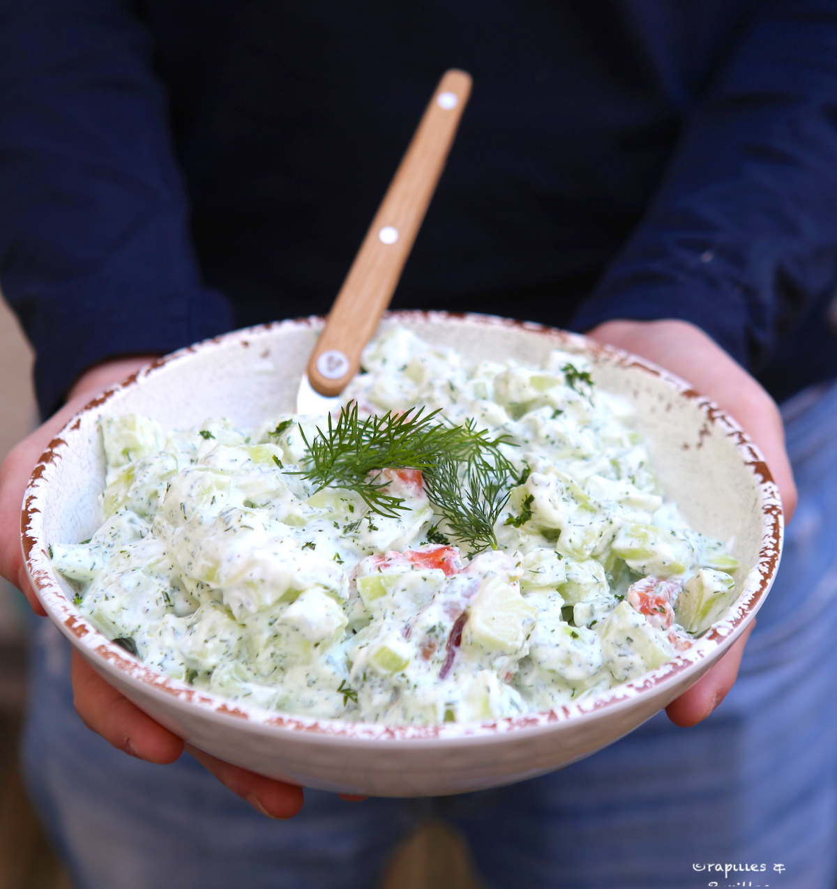 Salade de concombre ricotta saumon fumé aneth