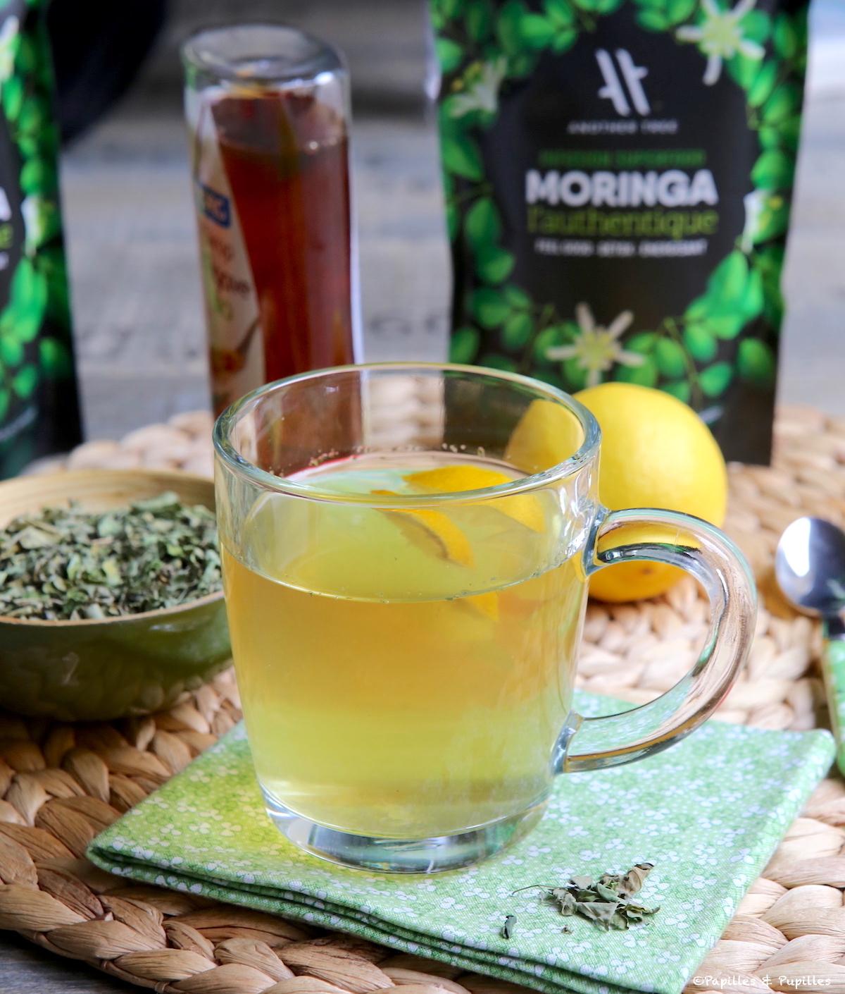 Tisane Moringa gingembre sirop d'agave citron