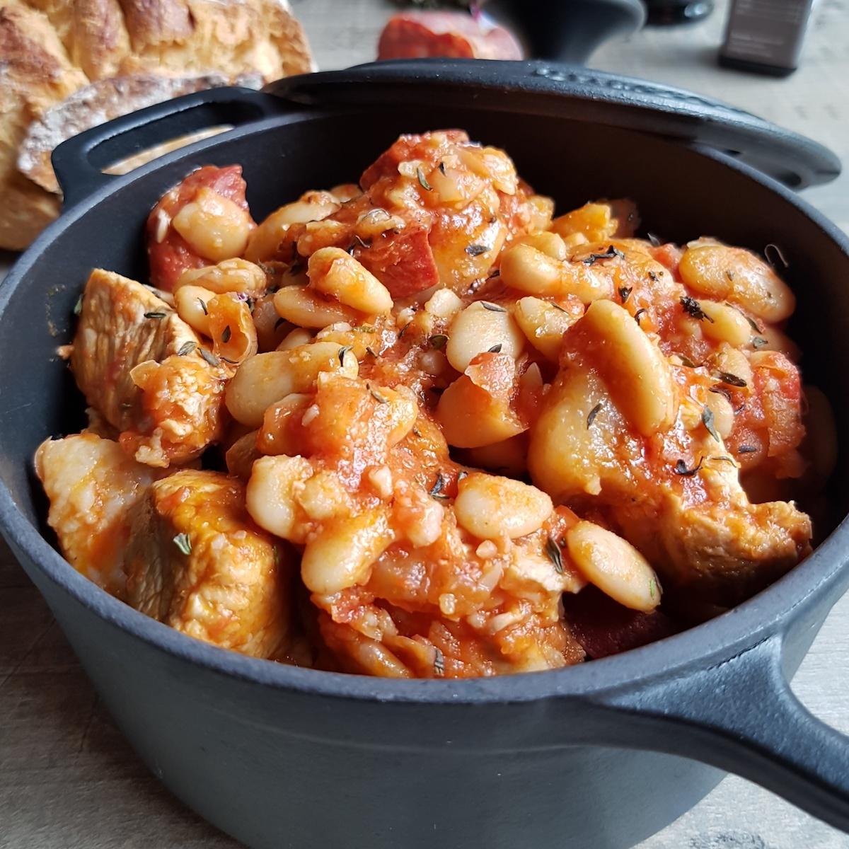 Cocotte de porc au chorizo et haricots tarbais