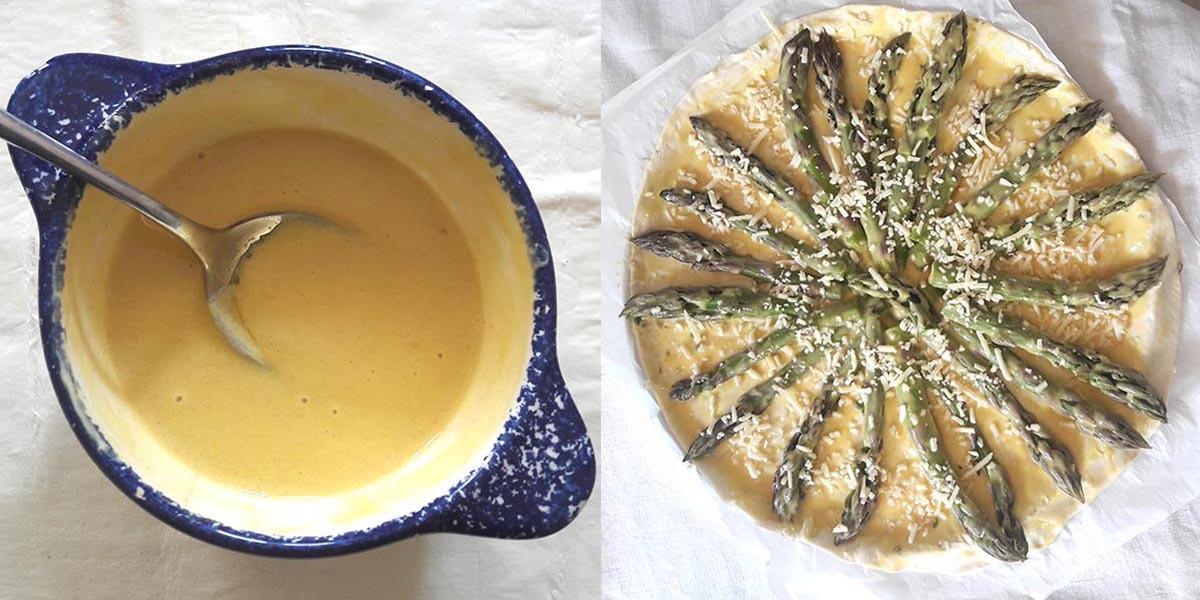 Préparation de la tarte aux asperges