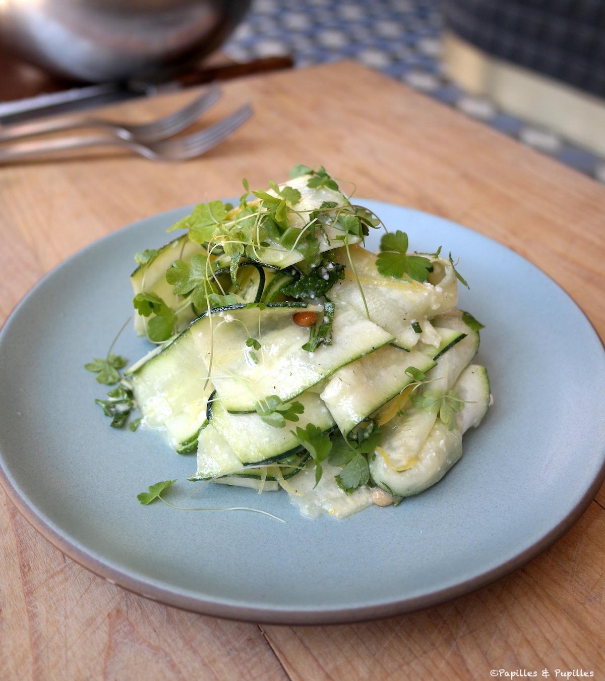 Salade de courgettes, féta et citron confit
