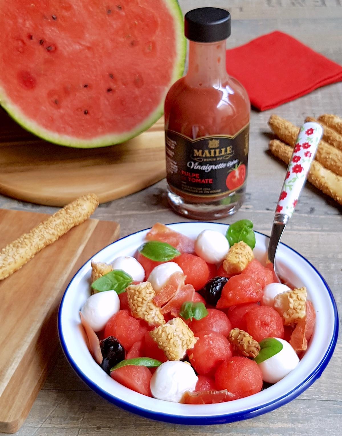 Salade de pastèque mozza et olives
