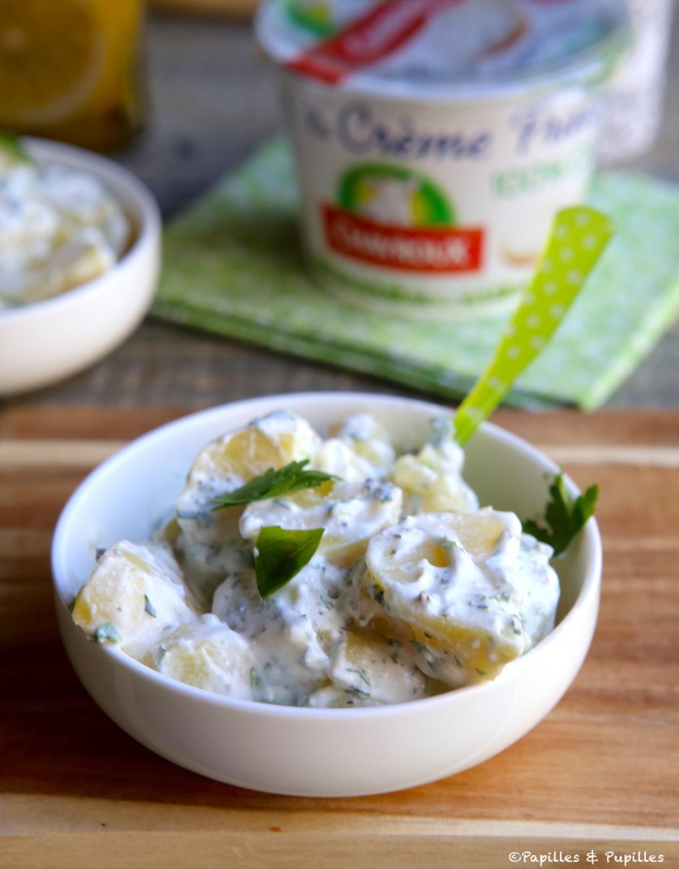 Salade pommes de terre crème fraîche aux chèvre, herbes
