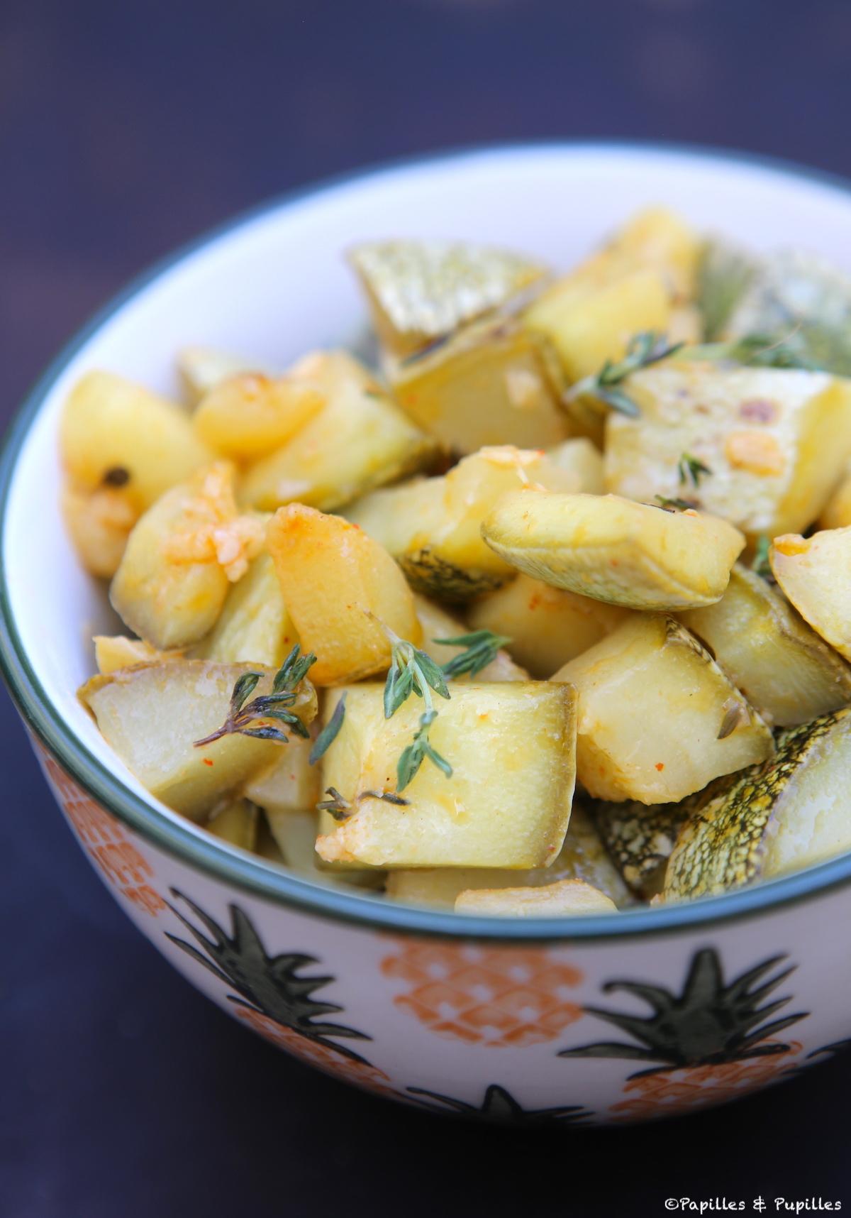 Courgettes marinées au citron et thym