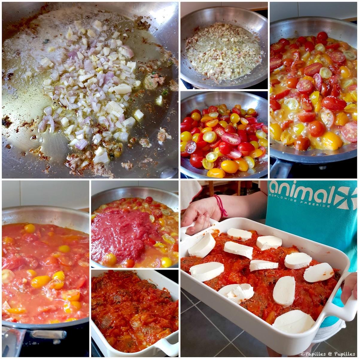 Préparation de la sauce jusqu'à mise au four