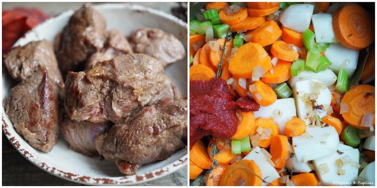 Boeuf roussi et mélange de légumes