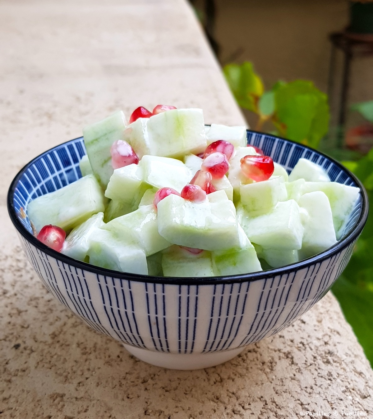 Salade de concombre, yaourt, grenade