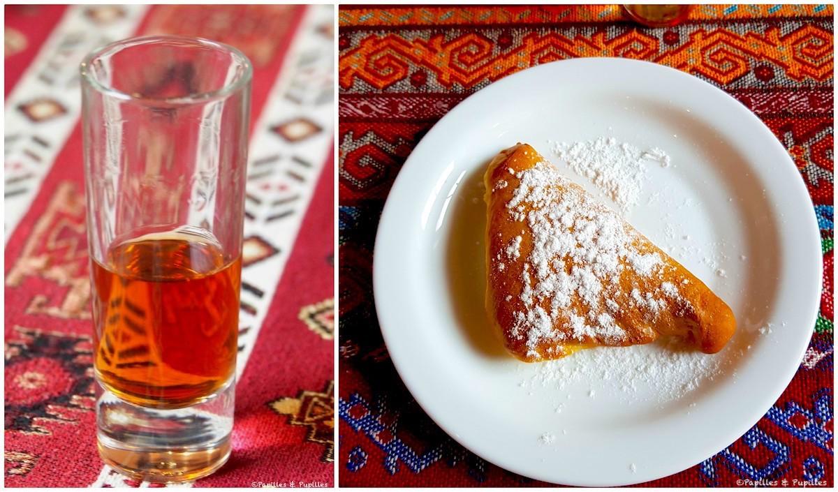 Chausson au fromage frais et Alcool traditionnel (Krupnik)