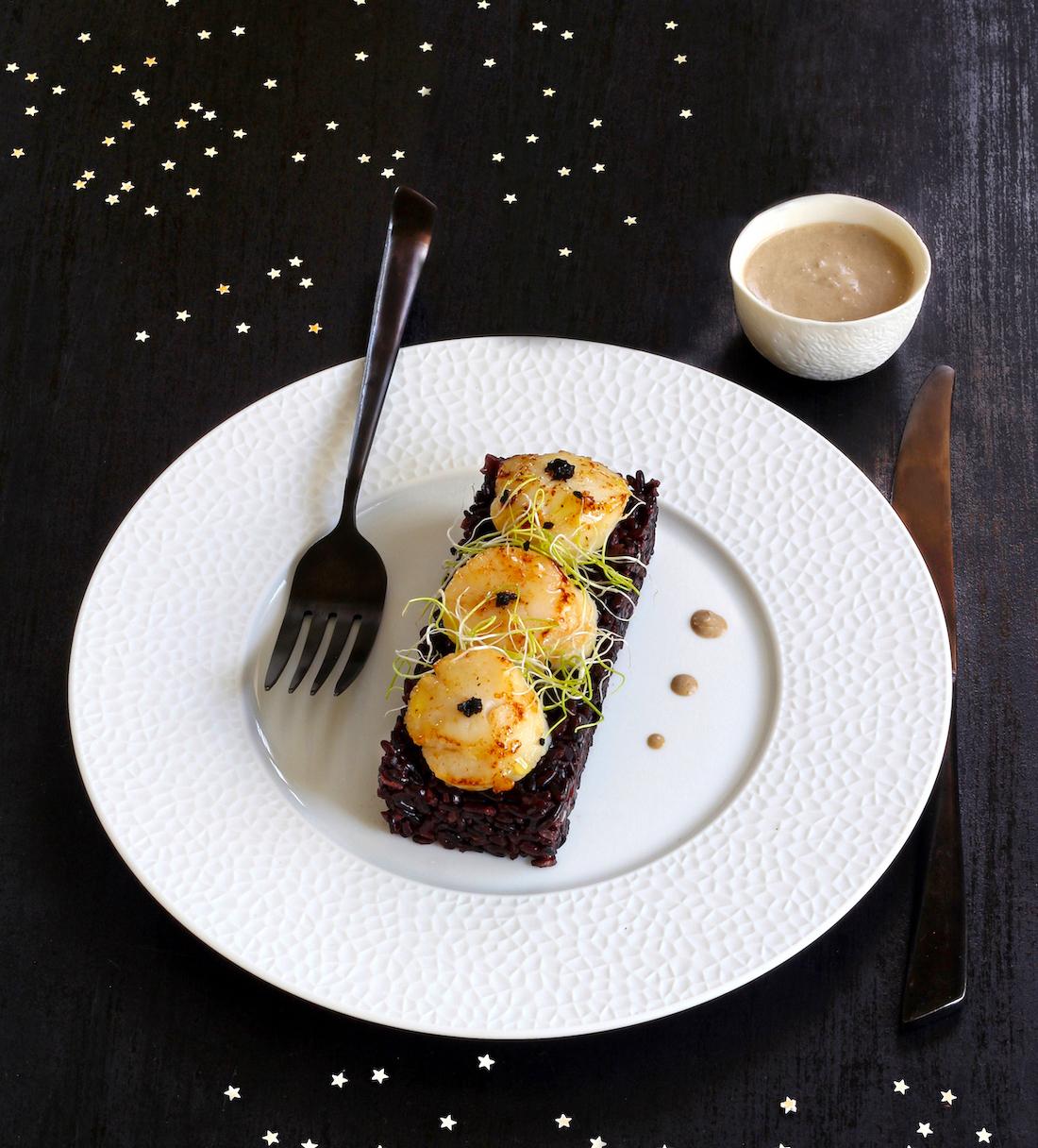 Risotto noir aux noix de Saint Jacques