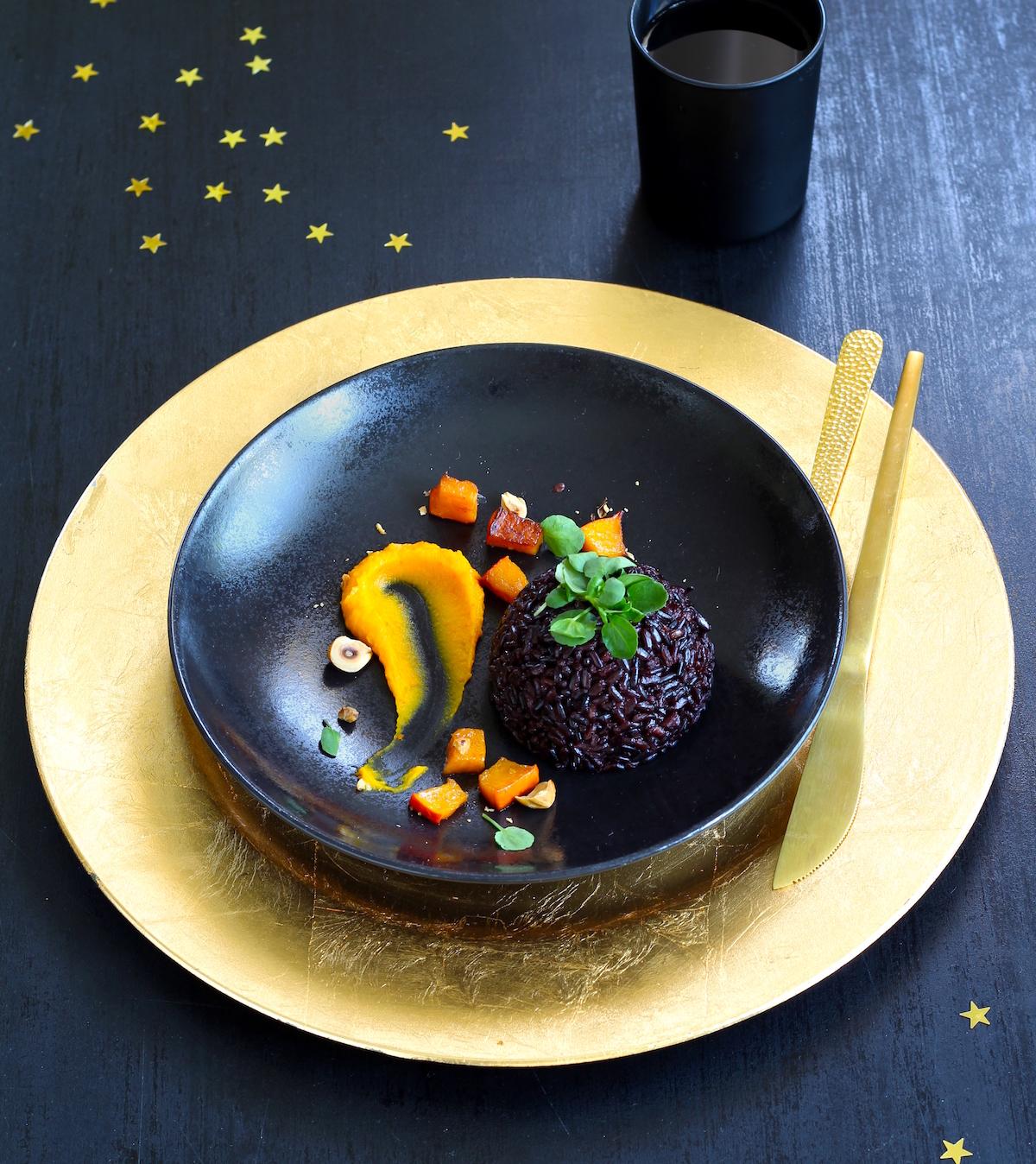 Riz noir au potimarron et noisettes