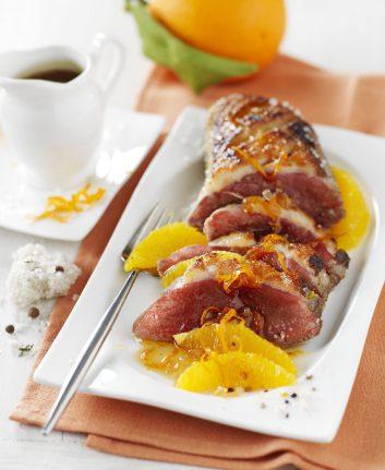 Magret de canard à l'orange en croûte de sel