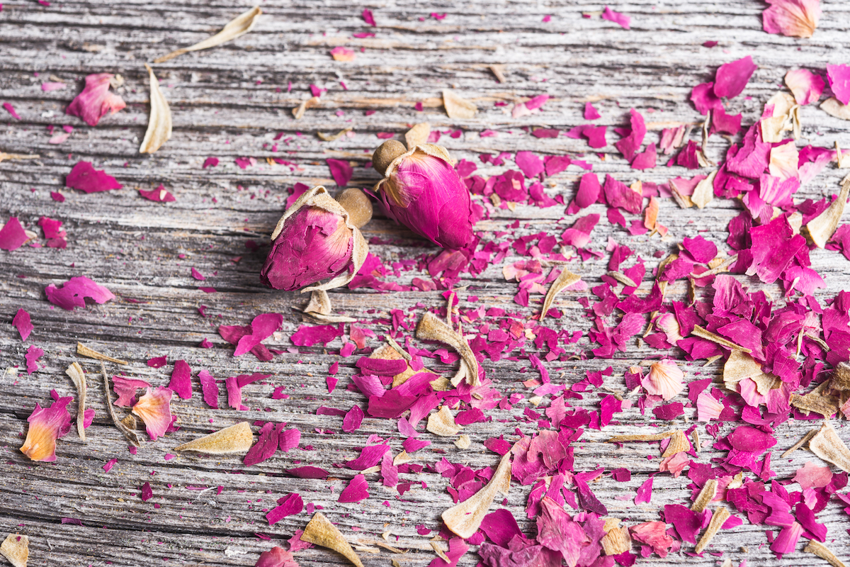 Pétales de roses séchées ©Elena Pavlovich shutterstock