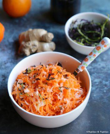 Salade de carottes radis noir pousses de moutarde