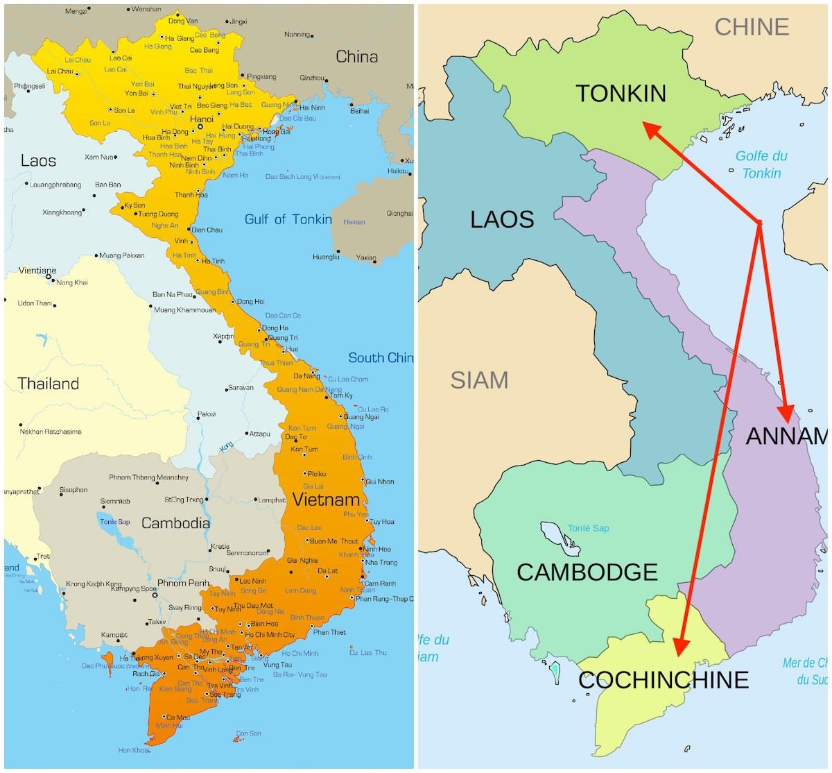 Carte du Vietnam avec les 3 régions