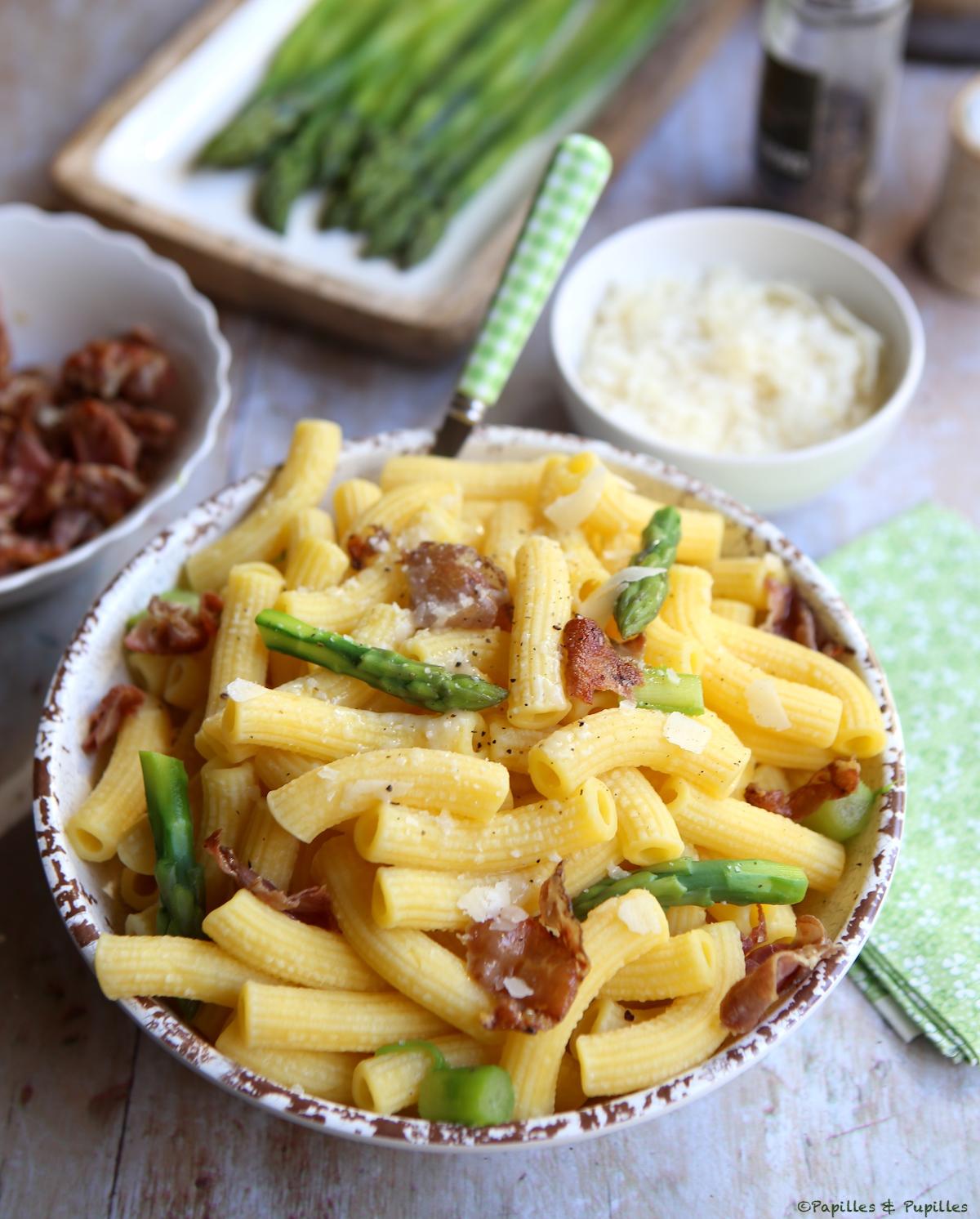 Pâtes aux asperges, Parmesan et Pancetta