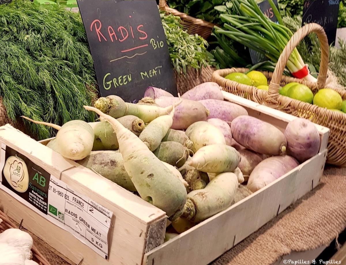 Radis Green Meat et Red Meat - Marché des Capucins - Bordeaux