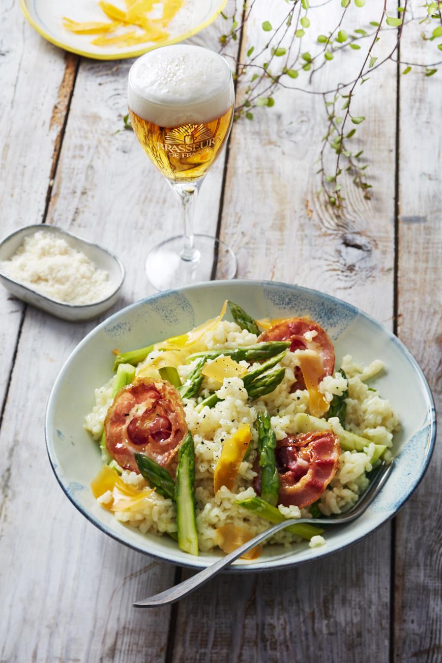 Risotto asperges, mimolette et pancetta_@Amelie Roche-Brasseurs de France