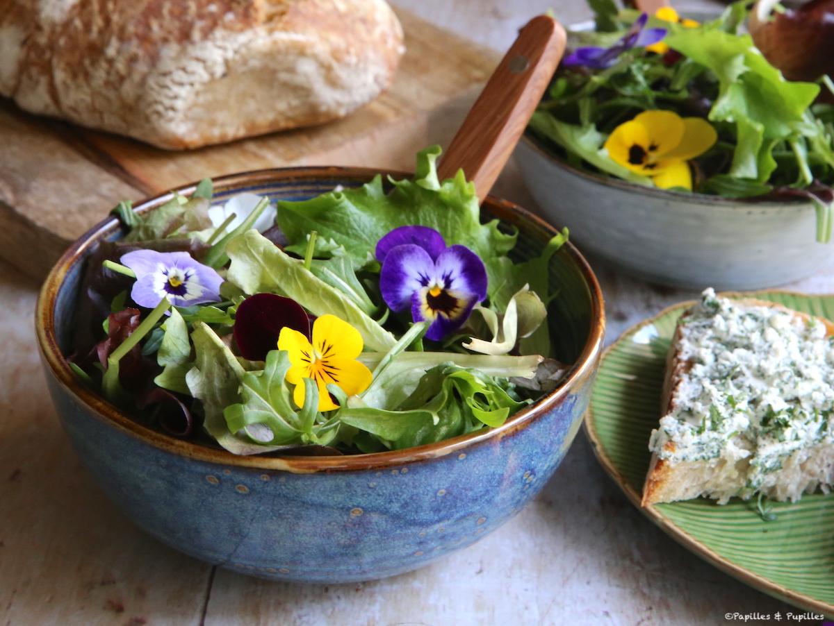 Salade aux fleurs de pensées