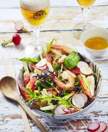 Salade de crevettes, radis, pamplemousse, pomme_@Amelie Roche-Brasseurs de France