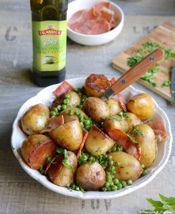Cocotte de pommes de terre petits pois et jambon cru