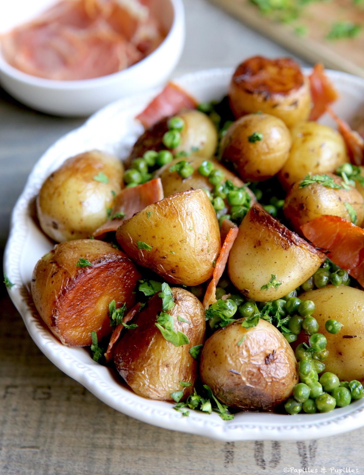 Cocotte pommes de terre, petits pois et jambon