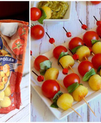 Brochette de Gnocchis pesto pistaches basilic