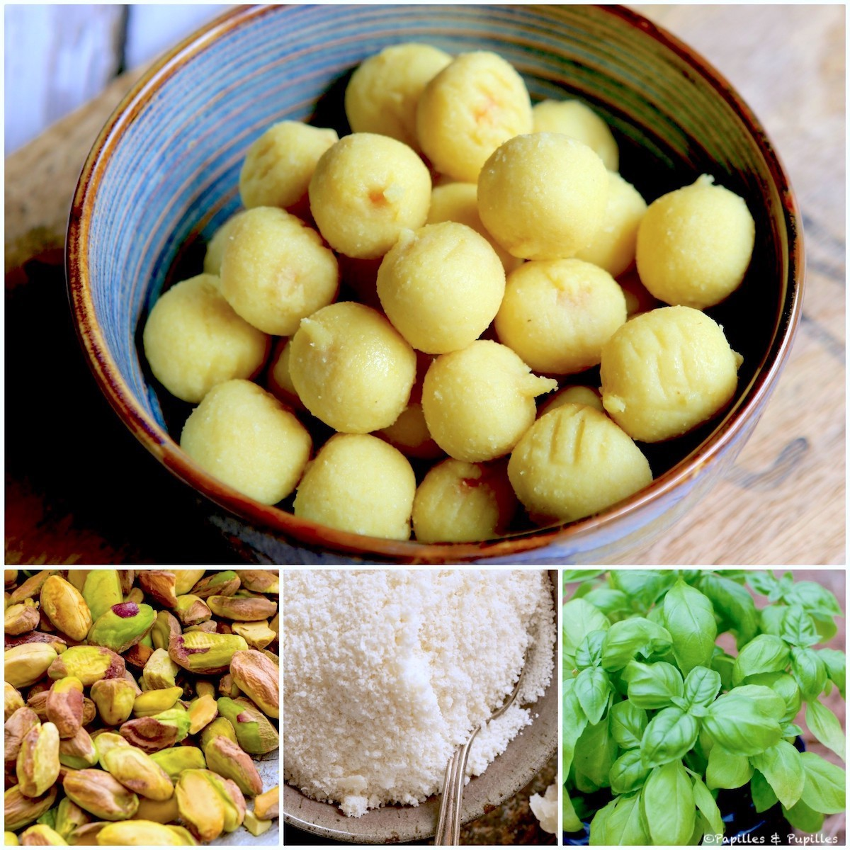 Gnocchis et ingrédients du pesto