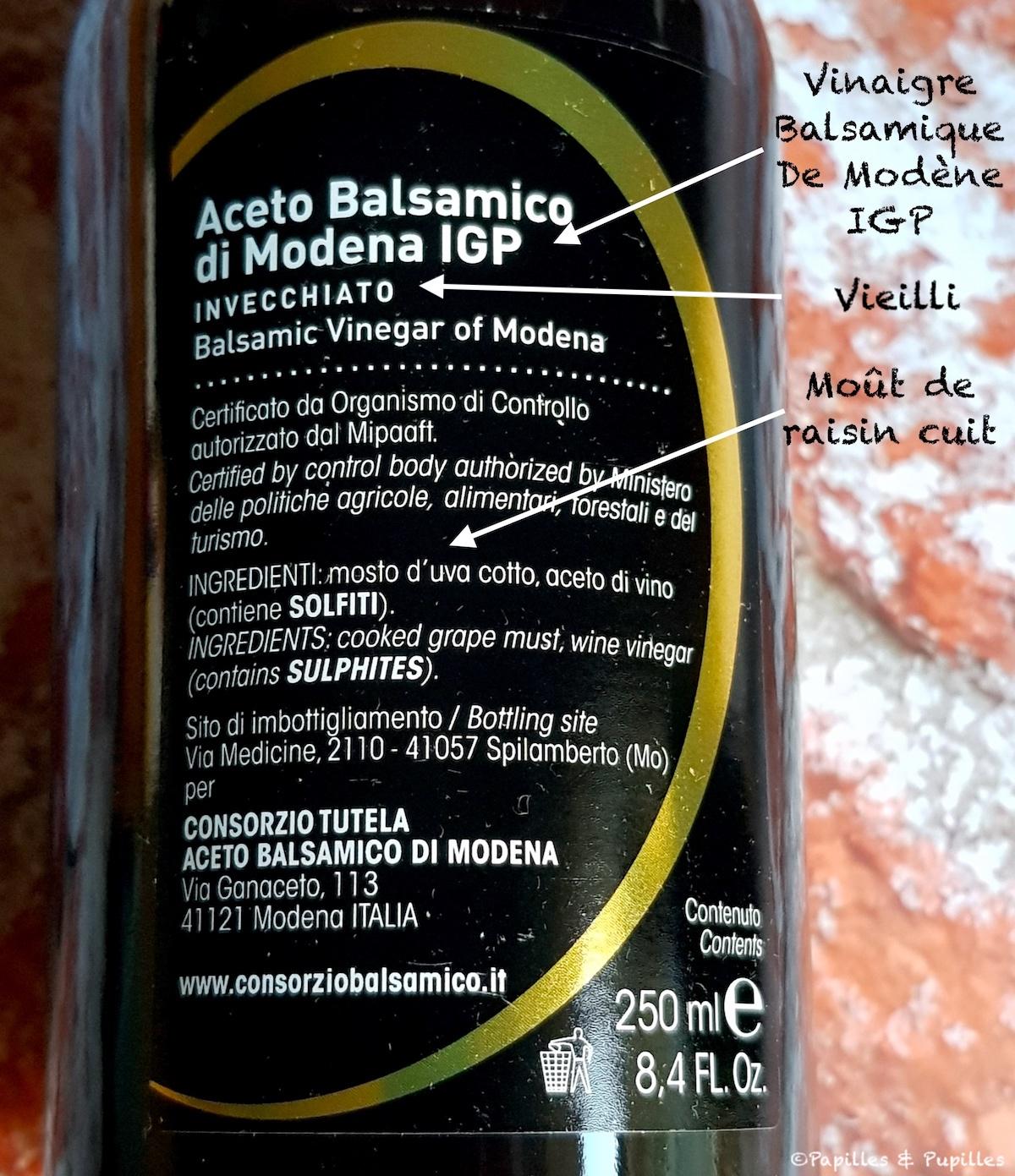 Etiquetage Vinaigre Balsamique de Modène IGP